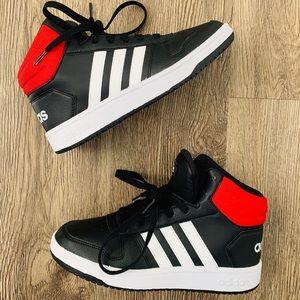 Addidas Hoops 2.0 Red White Black Leather Sz 5 Boy